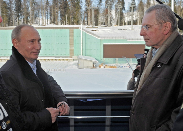 Jacques Rogge with Vladimir Putin Sochi February 7 2013