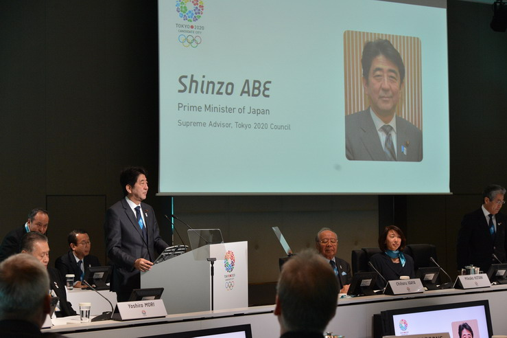 Shinzo Abe addressing IOC Evaluation Commission Tokyo March 4 2013 resize